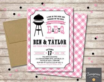 Baby Q Shower Girl Invitation, BBQ Baby Shower Invitation, Couples Baby Shower BBQ, Girl baby shower invitations, Printable Pdf File