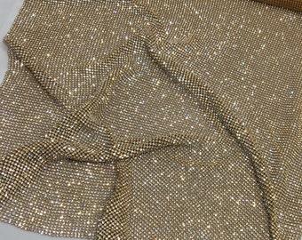Gold Rhinestone Sheet, Gold Crystal Fabric, Gold Rhinestone Fabric