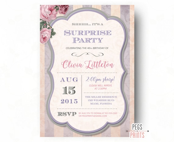 Sorpresa cumplea os invitaci n fiesta sorpresa adultos - Cumpleanos sorpresa adultos ...