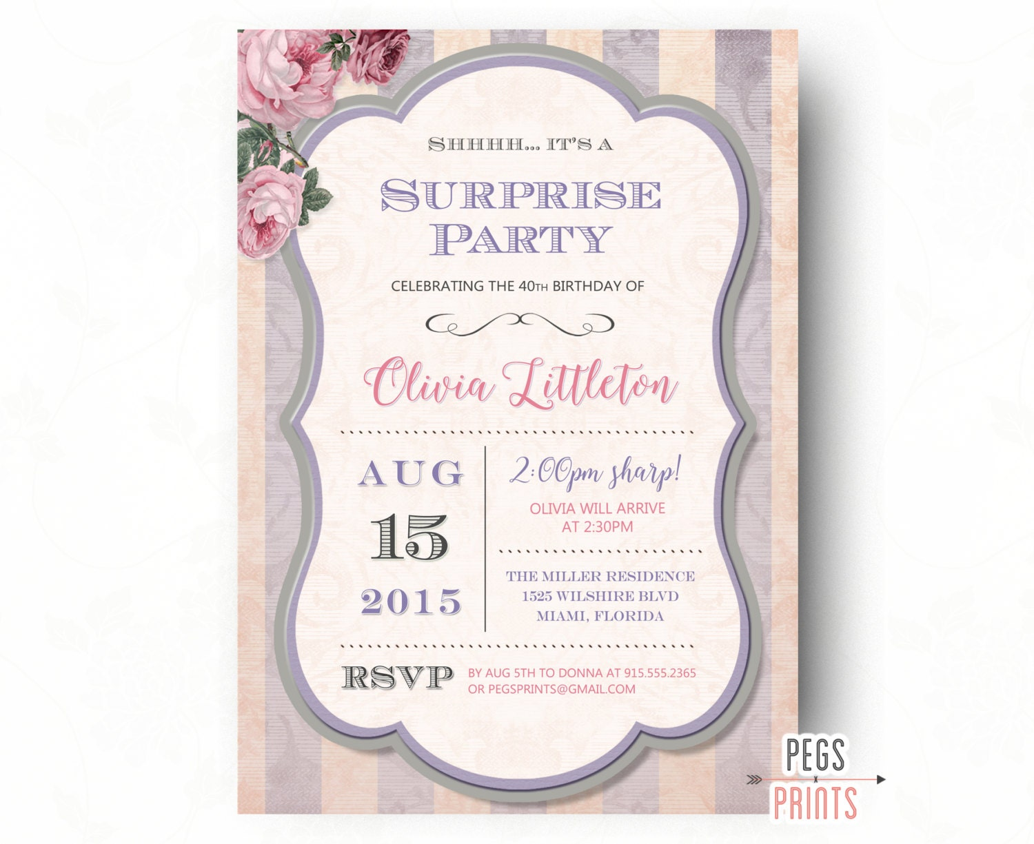 Surprise Birthday Party Invitation Printable Adult Surprise