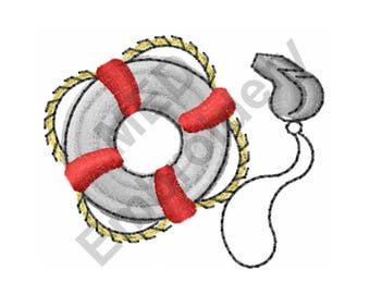 Lifeguard - Machine Embroidery Design, Life Preserver, Whistle