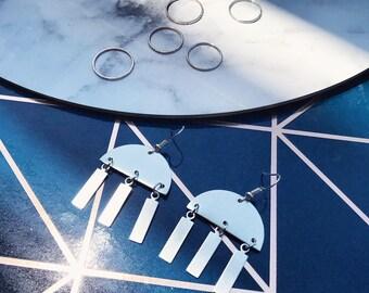 Geometric Jellyfish Circular Drop Earrings |  Silver & Aluminium