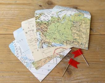 Upcycled Vintage world map mini envelopes