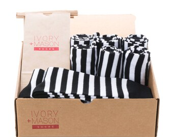 Groomsmen Socks Set - Black and White Striped - Men's Wedding Socks - Groomsmen Gift - Wedding Party Socks - Men's Gift - 8 Pairs Ae1X9ZjbfY