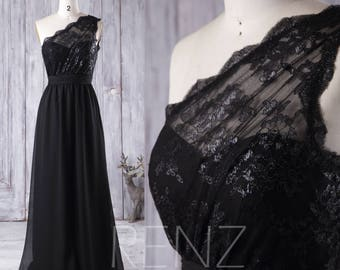 Chiffon Bridesmaid Dress Black, One Shoulder Illusion Lace Wedding Dress, A Line Prom Dress Long, Women Formal Dress Party Dress (L105)