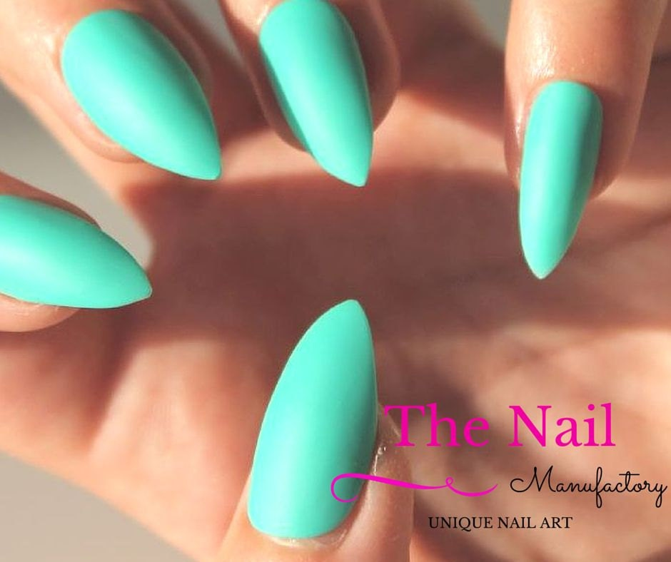 Matte Turquoise Fake Nails Set - Handpainted False Nails - Stiletto ...