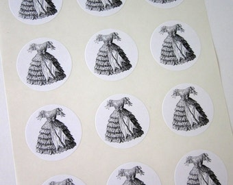 Vintage Dress Stickers One Inch Round Seals