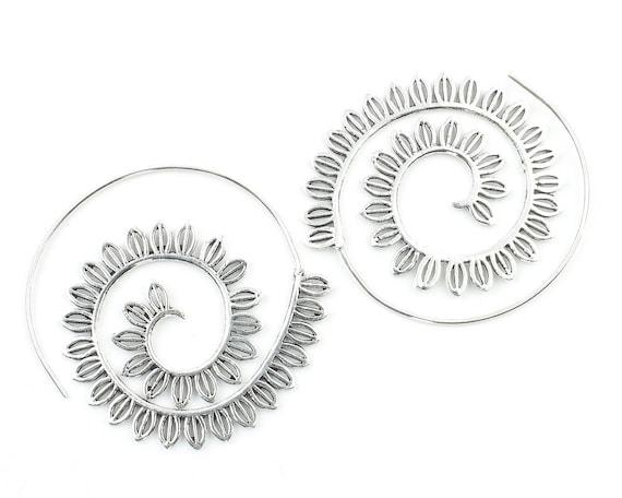 Sais Earrings, Spiral Mandala Earrings, Swirl Earrings, Tribal Earrings, Festival Jewelry, Gypsy Earrings, Ethnic, Yoga