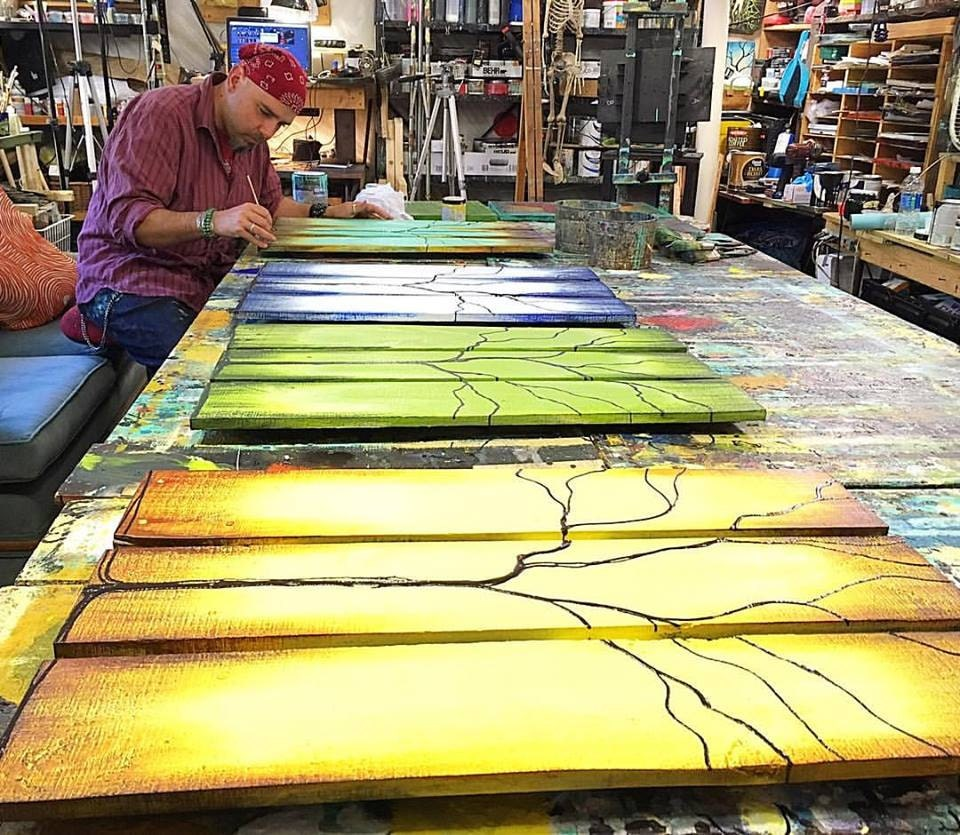 Reclaimed Wood Wall Art Seasons of Change Abstract Tree Paintings on ...