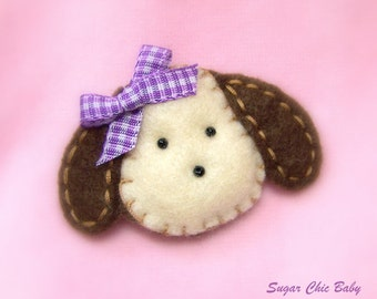 Girls Puppy Dog Hair Clip  - Chocolate Lab - Purple Bow Felt Puppy  -  PURPLE WHITE GINGHAM