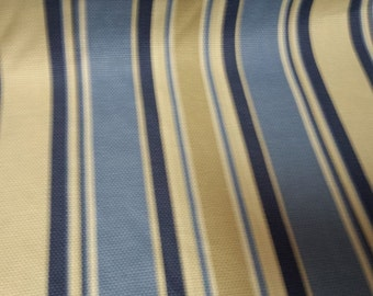 Woven Cotton STRIPE SHADES Of BLUE Tan And White Upholstery Fabric, 36-29-13-0413