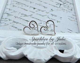Sterling Silver Heart Post Earrings ~ Wire Formed Heart Shaped Earrings, Ear Studs, Simple, Minimal, Love