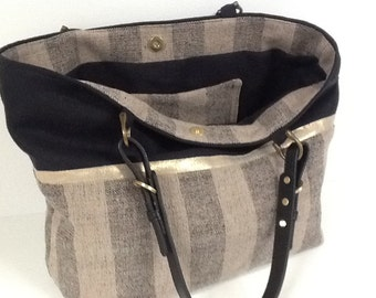 Tote bag, black, beige and gold linen, leather handles / shopping bag black beige and gold linen,adjustable leather handles