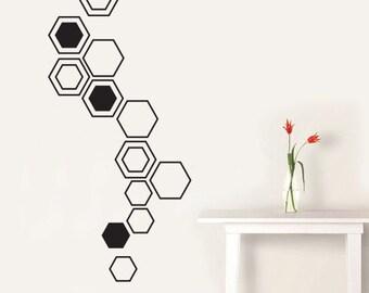 Hexagon Wall Art Hexagons Vinyl Decal, Home Decor Wall Decals Vinyl Wall Stickers Australian Made