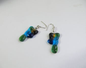 Silver blue green glass earrings Fused Glass Earring Silver 925 earring Original Design glassfusing Dangle Earring Jewelry Gift Mothers day