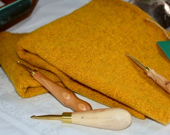 "Hand dyed 100 percent wool fabric - ""Harvest Gold"" - over dyed Stardust wool - rug hooking appliqué penny rug wool - Maine fiber art"