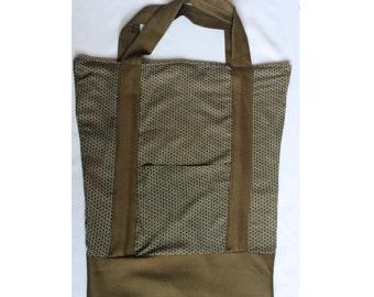 Casual Tote Bag, army green, geometric print, Shopper, Market Bag, Utility Tote, School Tote, Minimalist, eco friendly