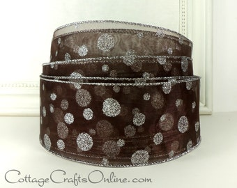"Wired Ribbon, 2 1/2"", Chocolate Brown Sheer with Silver Glitter Polka Dots, FIFTY YARD ROLL, Brown ""Glitter Dot"" Christmas Wire Edge Ribbon"