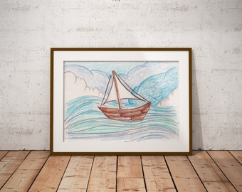 Sailboat with Clouds and Waves PDF - Crayon Drawing - 8x10 - Crayon Art Print - Kid's Room Art - Baby's Room Art