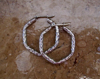 Silver Hoops, Unique hoop earrings, Sterling silver hoops, large silver hoops