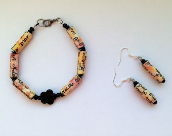 Bracelet and earrings with paper beads, paper bead jewelry made from hand-lettered and hand-painted paper, hand-lettering fantasy design