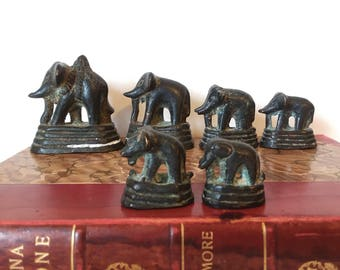 South East Asian Burma Opium Weights 6 Elephants in Total