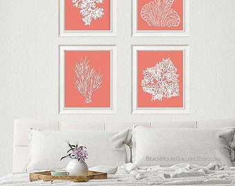 Coral Art, Pink Coral Prints, Pink Sea Coral, Print Set FOUR, Coral Decor Coral Wall Art, Ardent Coral,Coral Print, Pink Coral, Ardent Coral