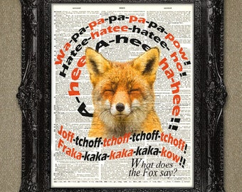 Fox Dictionary art print - What Does the Fox Say?- Dictionary Page Art Print, Book Art, wall Decor