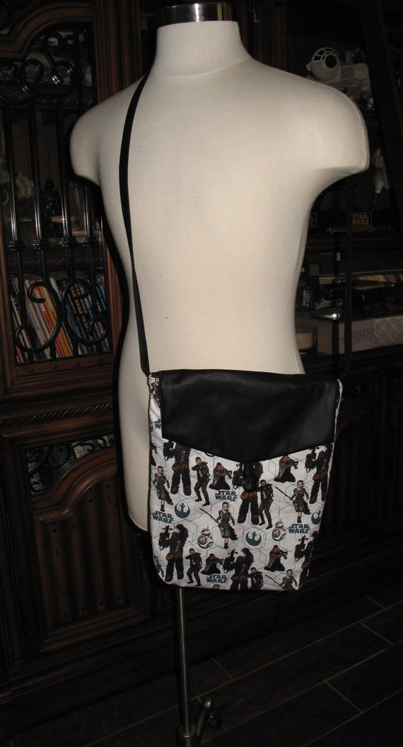 SW Ray Finn Chewbacca print unisex shoulder bag or crossbody bag size 14x11x3 in two styles