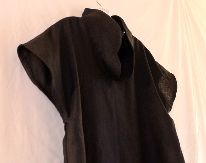 custom heavy linen drop sleeve cloud chipao collar tunic top / petite to plus size / custom colors / linen tunic with stand up collar