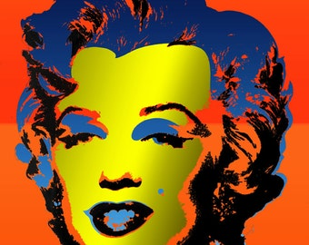 Tribute to Andy Warhol Pop Art 16x16 Marilyn Monroe Metallic Limited Edition Print Signed by Auric Visual Artist