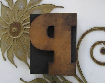 Letter P Antique Letterpress Wood Type Printers Block
