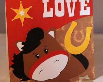 Western Love You Layered Card-Western Card-Love Card-Greeting Card-Handmade Card