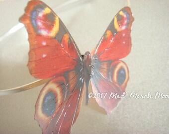 Peacock Butterfly Hairband, transparent rich colour, handmade hair accessory single hair grip