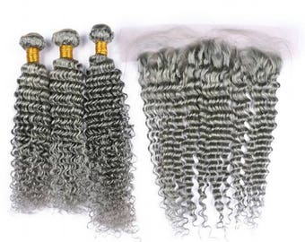 Malaysian Deep Curl  8A Remy Human Hair Extensions Full Head Weft Weave Bundles Silver Grey Plus Frontal