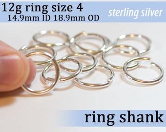 12g ring shank US size 4 sterling silver jump rings 12gsize3 jumprings 925 links