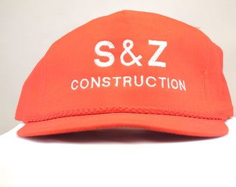 Six Dollar Hats - Vintage Baseball Hat S & Z Construction, , , Snap Back Onesize fits all  Hipster Bronx New York, Red, Cap cheap