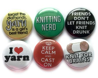 Funny Knitting Sayings on Pins - Magnets for Knitters - Best Knitting Gift (5th set)