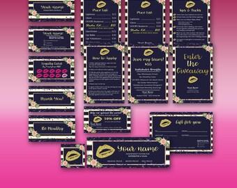 Lipsense Business Card Bundle, Lipsense Party Bundle, Lip Sense, Senegence Party Kit, Lipsense Business Cards Blue, Stripes, Instant