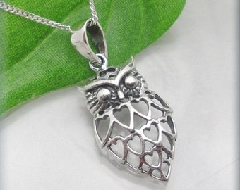 Filigree Owl Necklace, Sterling Silver, Owl Pendant, Bird Jewelry, Silver Owl Necklace, Everyday Jewelry, Protection Necklace