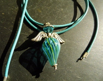 Necklace, pendant, angel, Wing, glass, blue, jewelry, protection