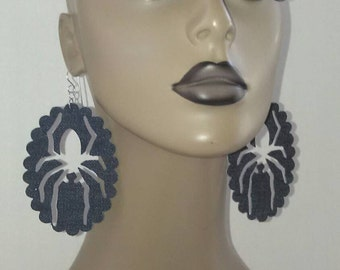 Uniquely Cut Dangling Denim Fabric Spider Earrings, Womens Earrings, Ladies Earrings, Dangling Earrings, Fabric Jewelry