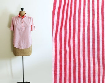 vintage blouse shirt striped 1980s red white clothing retro size small s medium m