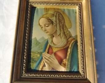 French Vintage framed  Virgin Mary  portrait on silk fabric  , copy painting, shabby chic reproduction , young girl painting