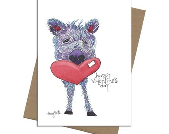Southwest Javelina Love   Valentine Card