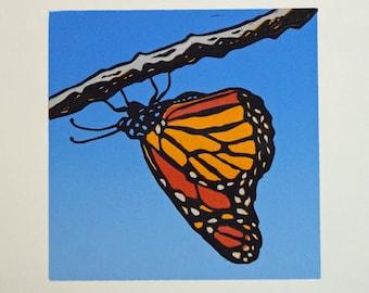 Monarch Butterfly Lino Print