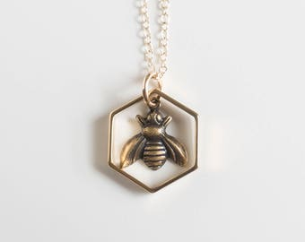 Bee Necklace - Bee Charm Necklace - Hexagon Necklace - Bee Jewelry - Sacred Geometry - Geometric - Insect Jewelry - Honeycomb Jewelry