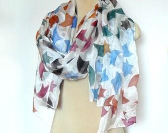 Painted silk veil, Silk scarf Extra large silk scarf, Spanish mosaic design Silk dress
