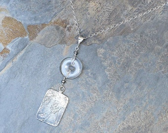 Mother's Day Necklace, Clear Quartz Necklace, Sterling Silver Necklace, Clear Necklace, Natural Stone Necklace, Mother Child Necklace