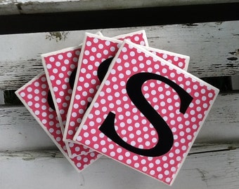 ON SALE - Personalized Tile Coasters Monogrammed Coaster Ceramic Tile Coasters  Coasters Wedding Gift Shower Gift Housewarming Gift Set of 4